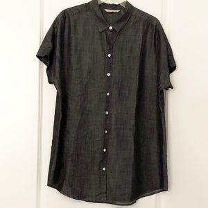 Soft Surroundings Je Veux Tencel Shirt Dark Gray